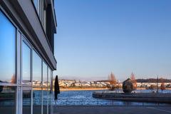 Dortmund germany phoenixsee lake in the winter. Cityscape stock photography