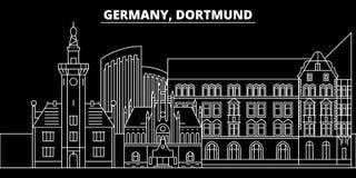 Dortmund konturhorisont Tyskland - Dortmund vektorstad, tysk linjär arkitektur, byggnader Dortmund lopp vektor illustrationer