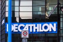 Decathlon sign in dortmund germany. Dortmund, North Rhine-Westphalia/germany - 22 10 18: decathlon sign in dortmund germany royalty free stock photography