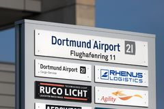 Dortmund airport sings in dortmund germany stock images