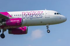 Wizz air airplane landing at dortmund 21 airport germany royalty free stock image
