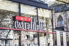 Dortmund, Ruhr Area, North Rhine Westphalia ,Germany - April 16 2018: Cafe extrablatt franchise in inner city with shopping street royalty free stock images