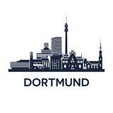 Dortmund Skyline Emblem. Abstract skyline of city Dortmund in Germany, vector illustration Royalty Free Stock Image