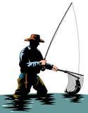 dorwali rybakiem pstrąga Zdjęcia Stock