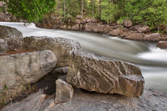 Dorwin Stream. Long exposure water stream from Dorwin Falls Park in Rawdon, Quebec (Canada royalty free stock photography