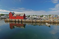 Dory and lobster shack, Rockport, Massachusetts Stock Image