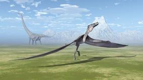 Dorygnathus och Mamenchisaurus Arkivfoto