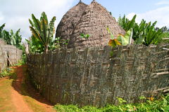 Dorze hut, Ethiopia. Huts of Dorze tribe in Dorze village near Arba Minch in Southern Ethiopia. The huts typically stand approximately 100 years because of a Stock Image