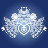 Dos ángeles con una trompeta y un corazón Plantilla para el corte del laser Vector stock de ilustración