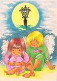 Dos ángeles en amor ilustración del vector
