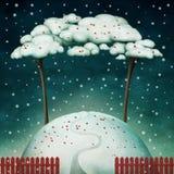 Dos árboles en la colina nevosa ilustración del vector