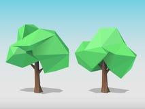 Dos árboles poligonales Fotografía de archivo