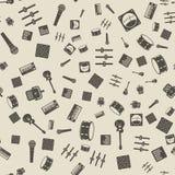 Dos ícones monocromáticos da engrenagem da música do vetor teste padrão sem emenda Imagens de Stock