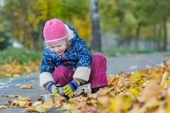 Dos años de la muchacha que sostiene la taza del termo hunkering en el contexto de la cubierta del follaje del otoño Foto de archivo