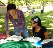 Dos adolescencias negras estudian sus libros en el parque Imagenes de archivo