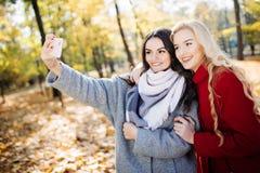 Dos adolescentes felices que toman un selfie en smartphone, al aire libre en otoño en parque Imagen de archivo libre de regalías