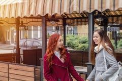 Dos adolescentes femeninos que abrazan en el café de la calle de la ciudad Imagen de archivo libre de regalías