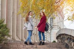 Dos adolescentes femeninos que caminan encima de los pasos de piedra que llevan a cabo las manos adentro Fotografía de archivo