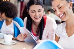 Dos adolescentes que estudian junto Fotografía de archivo
