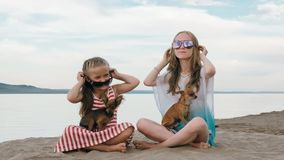 Dos adolescentes se están sentando en una playa arenosa cerca del mar Tienen dos perros foto de archivo
