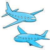 Dos aeroplanos azules dibujados mano en blanco ilustración del vector