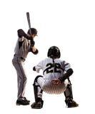 Dos aislados en el béisbol profesional blanco fotografía de archivo