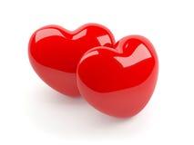 Dos aislaron el corazón rojo Fotos de archivo libres de regalías