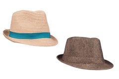 Sombreros de Fedora en blanco Imágenes de archivo libres de regalías