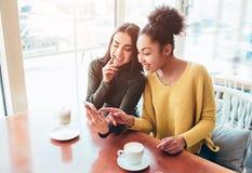 Dos alegres y las muchachas hermosas se están sentando juntos cerca de la tabla y están mirando algo en el teléfono Miran Foto de archivo libre de regalías