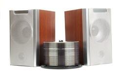 Dos altavoces de madera de la música aislados Foto de archivo