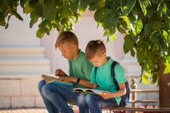 Dos alumnos se sientan debajo de un árbol y leen los libros en un día de verano soleado fotos de archivo