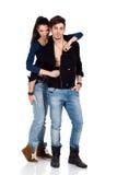 Dos amantes atractivos jovenes que tocan con la pasión Imagen de archivo libre de regalías