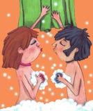 Dos amantes en el baño con el jabón y las burbujas Imagen de archivo