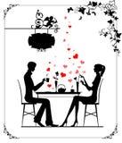 Dos amantes en el café Stock de ilustración