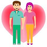 Dos amantes en el fondo de un corazón enorme stock de ilustración