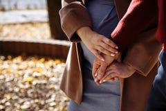 Dos amantes llevan a cabo las manos en parque del otoño fotos de archivo