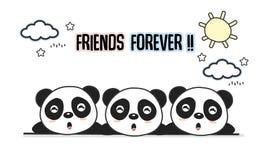 Dos amigos cartão para sempre com animais pequenos Ilustração bonito do vetor dos desenhos animados das pandas ilustração do vetor
