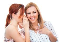 Dos amigos de chica joven felices que hablan o que susurran Imágenes de archivo libres de regalías