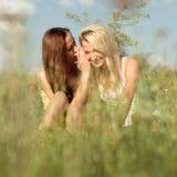 Dos amigos de chica joven que se sientan en hierba en el verano Foto de archivo libre de regalías