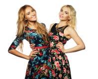 Dos amigos de chica joven que se unen y que se divierten Fotografía de archivo libre de regalías
