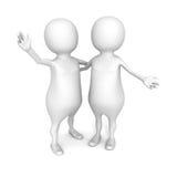 Dos amigos de la gente 3d son abrazo feliz Imágenes de archivo libres de regalías