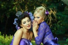 Dos amigos de muchachas de moda wispering Foto de archivo libre de regalías