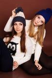 Dos amigos de muchachas del adolescente en ropa del invierno Imagen de archivo libre de regalías