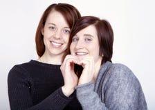 Dos amigos de muchachas hacen un corazón con las manos Foto de archivo