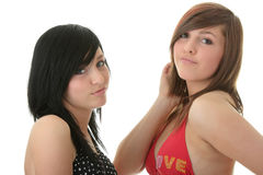 Dos amigos en trajes de baño del bikiní Fotos de archivo libres de regalías