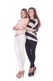 Dos amigos femeninos aislados Fotos de archivo