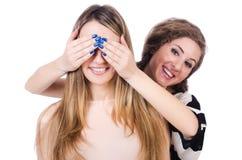 Dos amigos femeninos aislados Imagen de archivo libre de regalías
