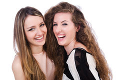 Dos amigos femeninos aislados Fotografía de archivo libre de regalías