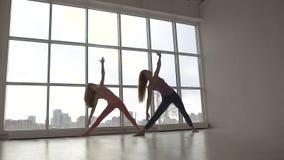 Dos amigos femeninos aptos que hacen en yoga clasifican con la luz natural almacen de video