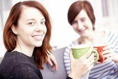 Dos amigos femeninos felices con las tazas de café Fotografía de archivo libre de regalías